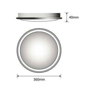 Lunar 40w Round White Oyster Surface Mounted Ceiling