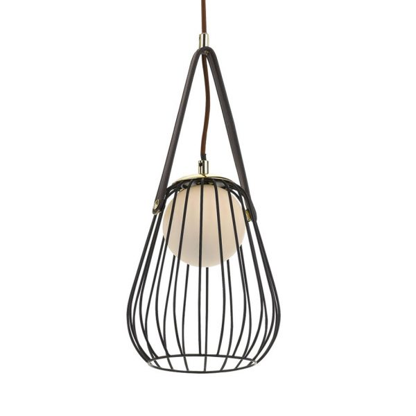 Carla 1 Light Pendant - Metallic Cage Shade Pendant