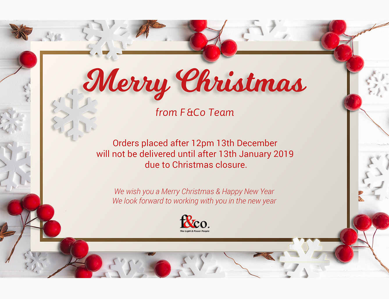 F&Co Christmas Closure 2019